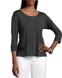 Eileen Fisher - Black Linen Jersey Top - Lyst