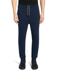 HUGO - Blue Tracksuit Bottoms In Cotton: 'dawaro' for Men - Lyst