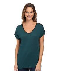 Calvin Klein Jeans | Green V-neck Tee W/ Lace Yoke | Lyst