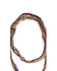 Sogoli - Chain & Suede Necklace - Red/turq/purple - Lyst
