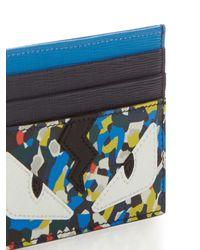 Fendi | Black Bag Bugs Flecked-print Leather Card Holder for Men | Lyst