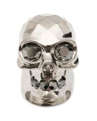 Alexander McQueen | Metallic Textured Skull Ring | Lyst