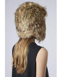 TOPSHOP - Brown Faux Fox Fur Trapper - Lyst