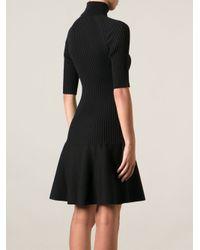 Michael Kors - Black Knitted Ribbed Dress - Lyst