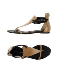 CoSTUME NATIONAL - Natural Two-Toned Leather Sandals - Lyst