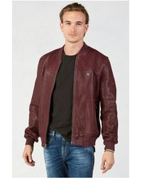 True Religion | Purple Leather Baseball Mens Jacket for Men | Lyst