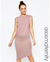 ASOS | Natural Bodycon Dress With Drape Shoulder And Aysmmetric Hem - Mink | Lyst