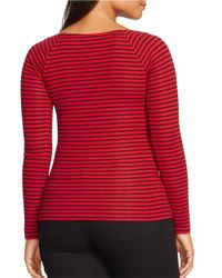 Lauren by Ralph Lauren - Red Plus Striped Long-sleeved Top - Lyst