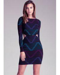 Bebe Multicolor Gradient Cutout Dress