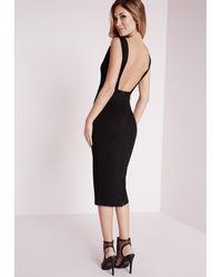 Missguided | Jersey Low Back Midi Dress Black | Lyst