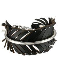 COACH Metallic Leather Studded Feather Wrap Bracelet