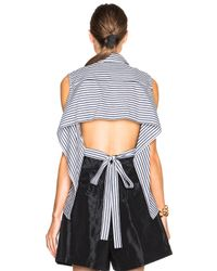 TOME | Black Fwrd Exclusive Striped Poplin Tie Back Top | Lyst