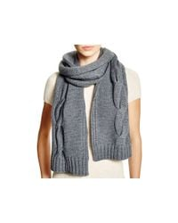 Tory Burch Gray Cable Knit Scarf