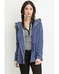 Forever 21 | Blue Faux Fur-trim Hooded Parka | Lyst