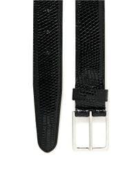 Canali Black Shiny Lizard-embossed Leather Belt for men