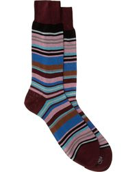 Paul Smith - Blue Thin Striped Sock for Men - Lyst