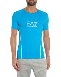 EA7 | Blue Vigor Logo Crew Neck Regular Fit T-shirt for Men | Lyst