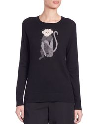 DKNY | Black Intarsia-knit Monkey Sweater | Lyst