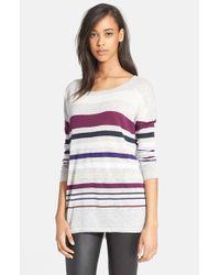 Vince - Gray Stripe Crewneck Sweater - Lyst