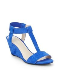 Kenneth Cole | Blue Dana Faux Suede T-strap Wedge Sandals | Lyst