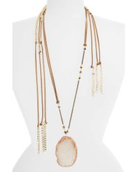 TOPSHOP | Brown Layered Fabric Necklace - Tan Multi | Lyst