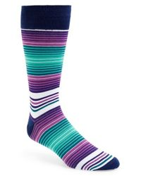 Bugatchi - Green Stripe Cotton Blend Socks for Men - Lyst