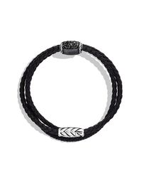 David Yurman - Chevron Triple Wrap Bracelet With Black Diamonds for Men - Lyst