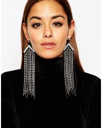 ASOS - Metallic Statement Chain Fringe Earrings - Lyst