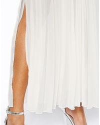 John Zack Natural Pleated Maxi Skirt with Thigh Splits
