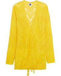 M Missoni Yellow Crochet-knit Cardigan