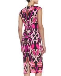 Ted Baker | Black Safiya Cap-sleeve Printed Midi Sheath Dress | Lyst