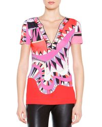 Emilio Pucci - Pink Kaleidoscope-print Silk V-neck Top - Lyst