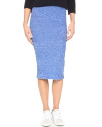 Alice + Olivia | Morena Long Pencil Skirt - Blue/white | Lyst