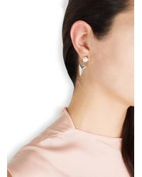 Joomi Lim | White Rhodium-Dipped Swarovski Faux Pearl Earrings | Lyst