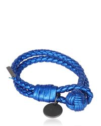 Bottega Veneta Blue Double Intreccio Metallic Deer Bracelet