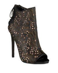 Steve Madden Black Korsett Peep Toe Boots