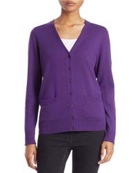 Lord & Taylor | Blue Petite Merino Wool Basic V-neck Cardigan | Lyst
