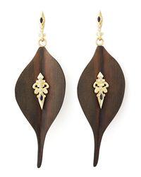 Armenta Black Ebony Wood Diamond Fleur-De-Lis Earrings