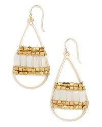 Panacea | Metallic White Crystal Teardrop Earrings | Lyst