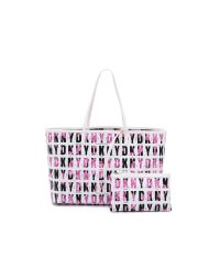 DKNY Pink Logo Print Shopper - Black