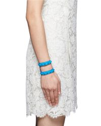 Valentino | Blue Rockstud Cutout Leather Bracelet | Lyst