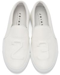 Joshua Sanders White 23 Grained Leather Slip-On Sneakers