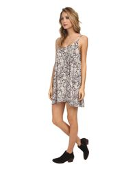 Free People - Gray Polyester Chiffon Printed Emily Slip - Lyst