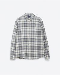 Zara | Gray Check Shirt for Men | Lyst