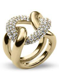 Michael Kors - Metallic Pave Curb Link Statement Ring - Lyst