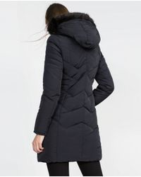 Zara | Blue Long Quilted Coat | Lyst