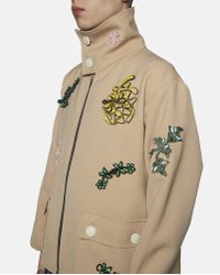 Xander Zhou Natural Beige Jacket With Embroidered Patches