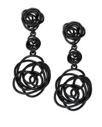 Oscar de la Renta | Black Wire Rose Clip-On Drop Earrings | Lyst