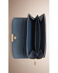 Burberry - Smooth Leather Ziparound Wallet Dark Slate Blue - Lyst