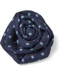Charvet | Blue Dotted Silkfaille Lapel Flower for Men | Lyst